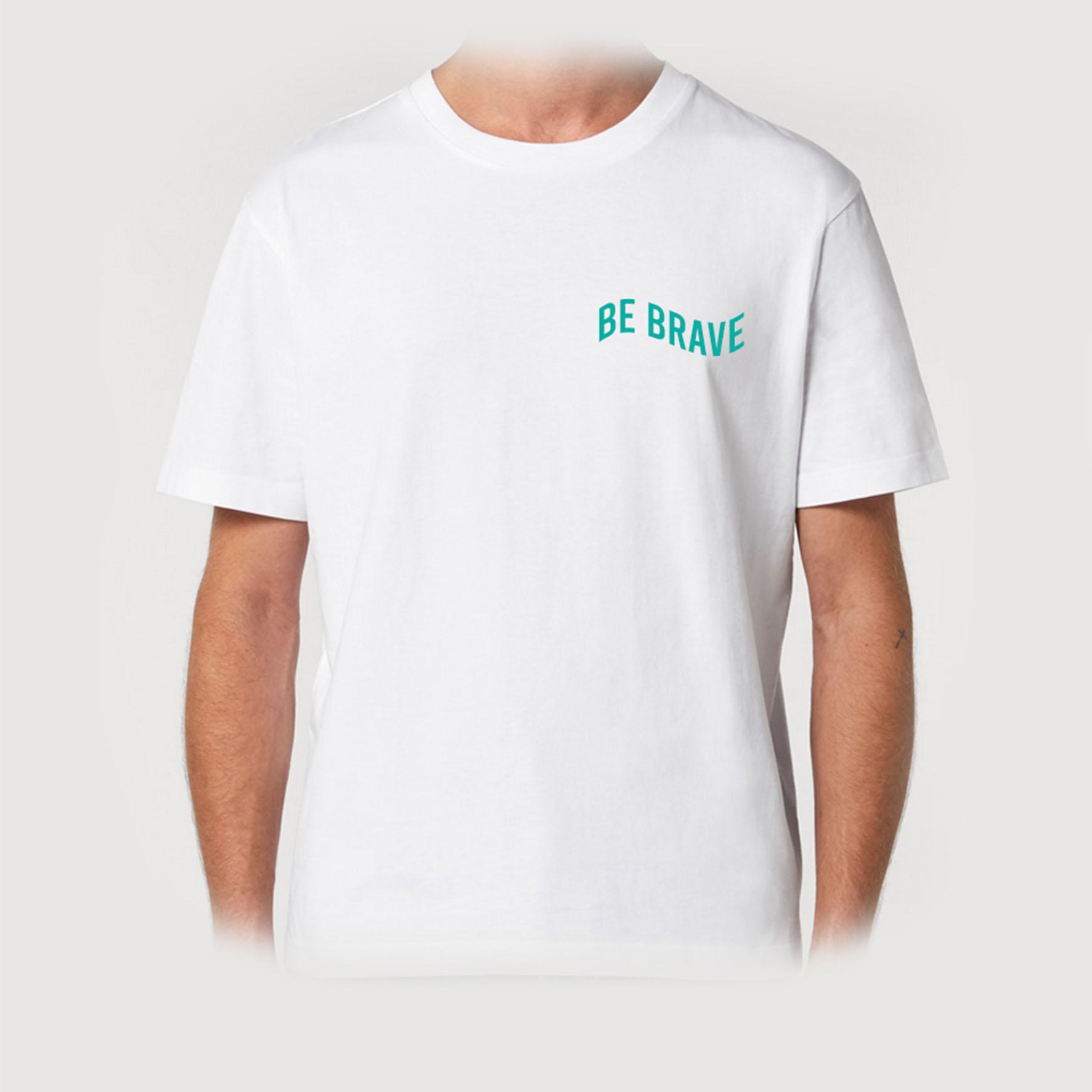 T-shirt biały BE BRAVE GREEN
