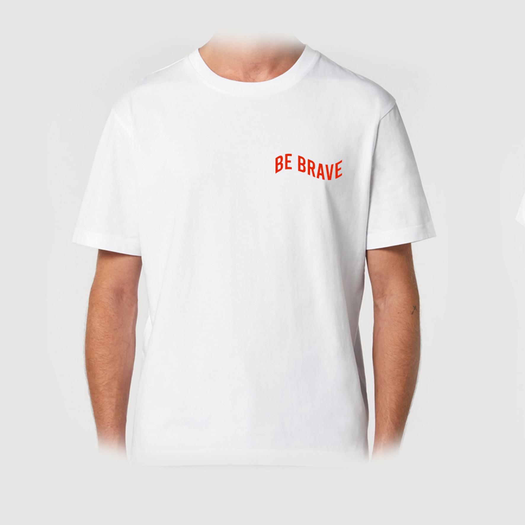 T-shirt biały BE BRAVE RED