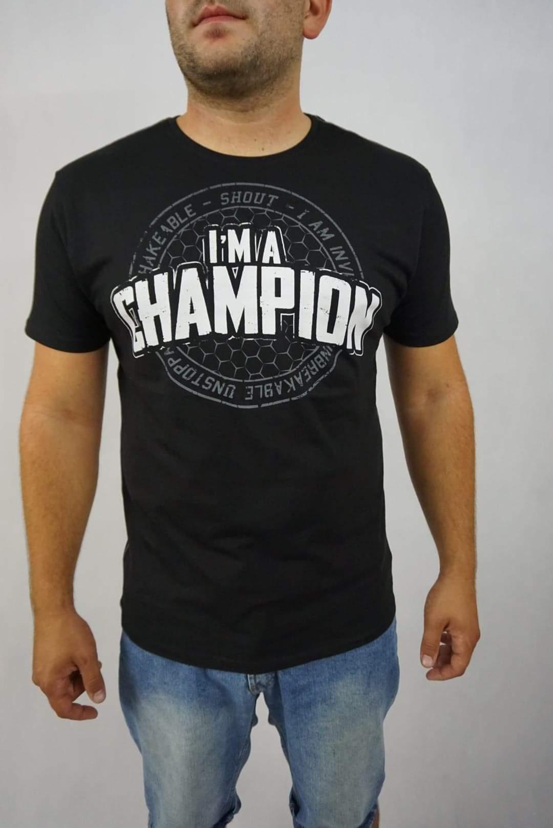 SHOUT T-SHIRT I'M A CHAMPION BLACK