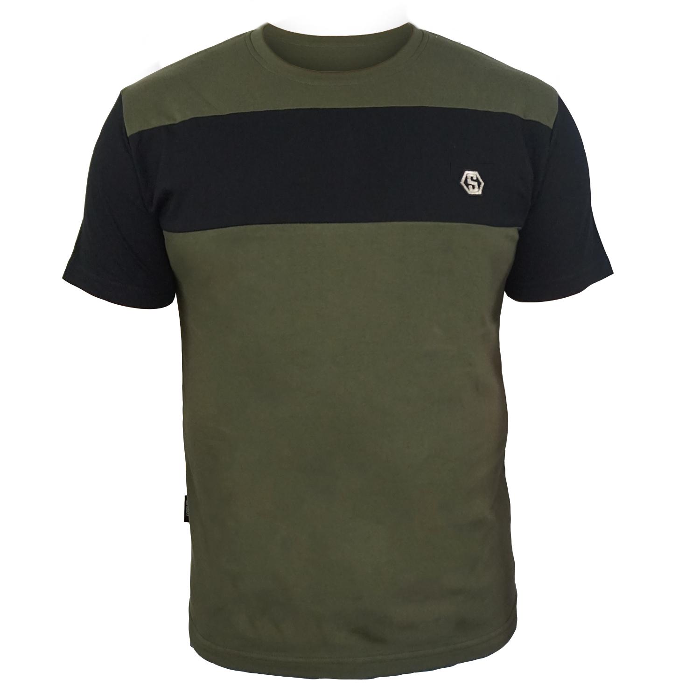 SHOUT T-SHIRT BLACK-OLIVE GREEN  LOGO