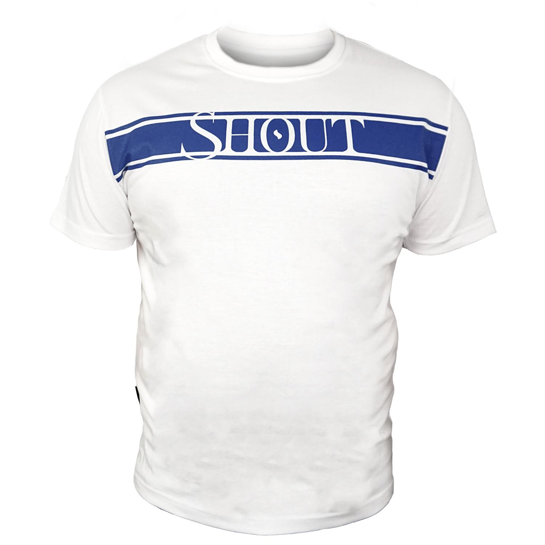 SHOUT T-SHIRT BLUE STRIPE LOGO